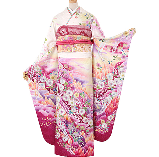 辻が花振袖ピンクレンタルおすすめNo.041-0733-L